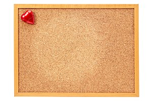 red heart on corkboard, Valentine day.