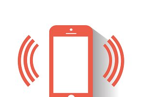 Smartphone icon with wifi red