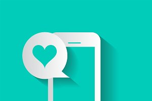Smartphone with heart bubble