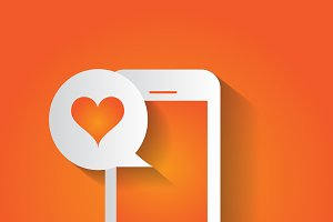 Smartphone with heart bubble orange