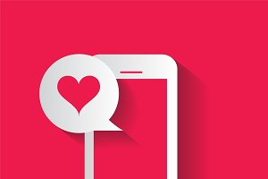 Smartphone pink with heart bubble