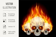 Three flaming skulls