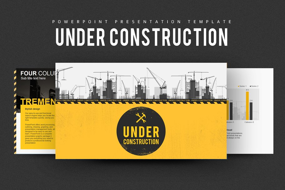 Silhouette of construction worker industry powerpoint templates.