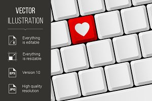 Keyboard with heart button