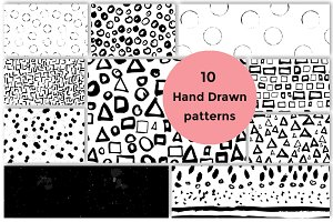 10 Hand Drawn seamless patterns set