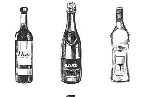 Alcoholic drinks hand drawn sketch