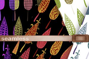 Seamless patterns retro Fall leaves.