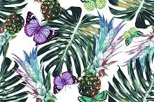 Pineapples,jungle leaves pattern