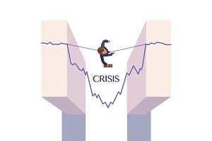 Businessman overcoming crisis