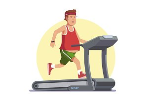 Obese young man running on treadmill