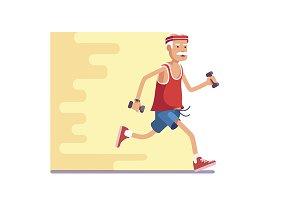 Fit elderly man jogging