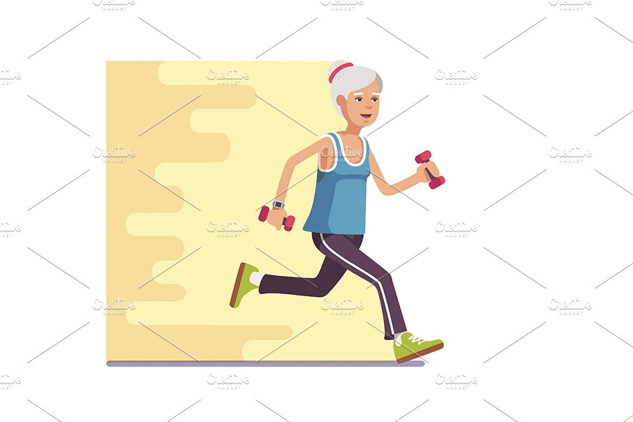 Fit elderly woman jogging