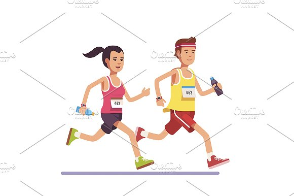 Fit couple running a marathon