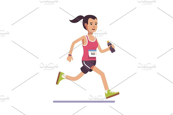 Young woman running a marathon