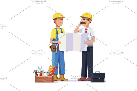 Carpenter talking with foreman in Illustrations