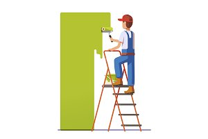 Craftsman painting white wall