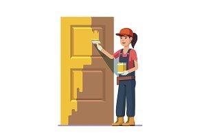 Professional painter painting door