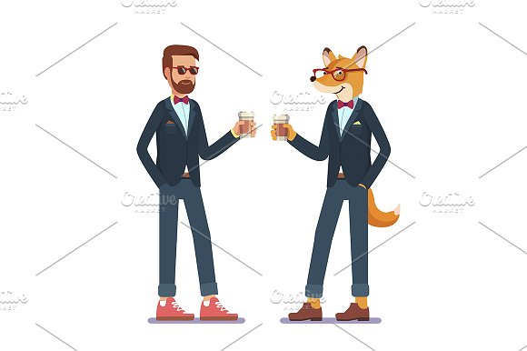 Hipster fox and man standing in suit
