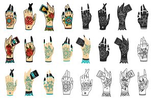Old school tattoo hands