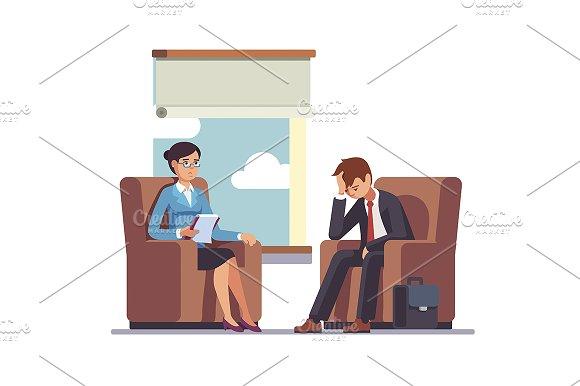 Businessman talking to psychologist