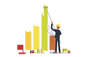 Business man painting bar graph