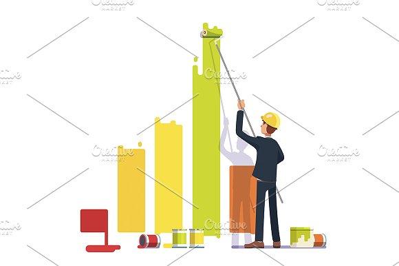 Business man painting bar graph