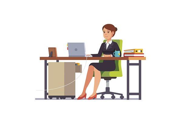 Clerk working at her office desk