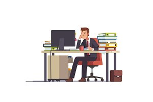 Tired accountant sitting at his desk