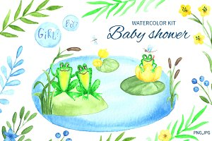 Baby shower.Watercolor kit.