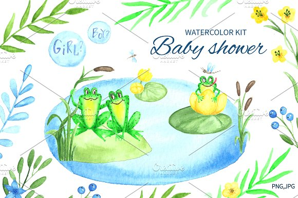 Baby shower.Watercolor kit. - Illustrations