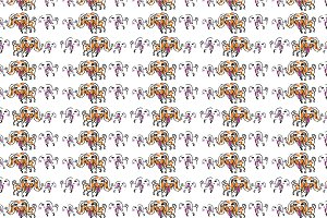 Seamless pattern of doodle dog