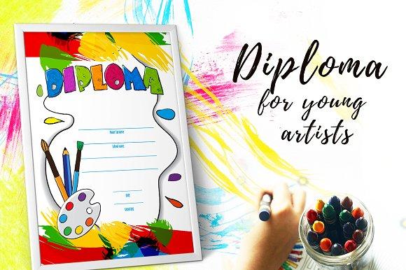 kids diploma for kindergarten stationery templates creative market kids diploma for kindergarten stationery