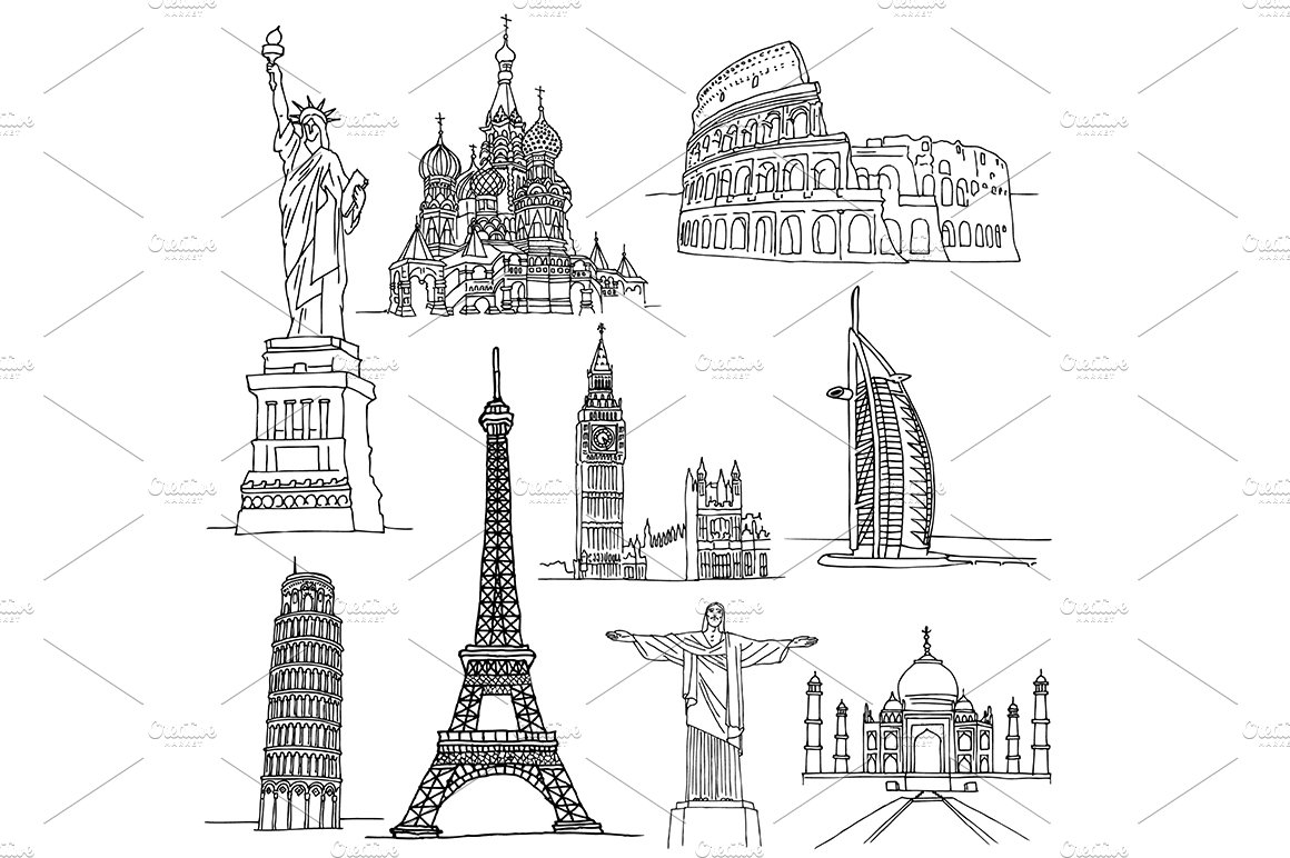 Sketches of Famous Places. ~ Illustrations ~ Creative Market