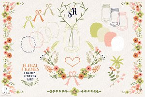 Floral frames, jars for stationery