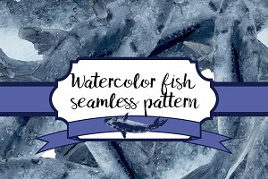 Seamless fish watercolor pattern