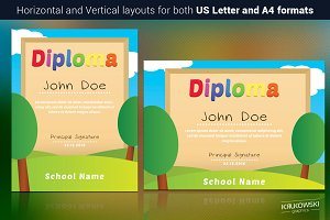 Kids School Diploma Template