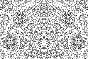Circular geometric floral patterns