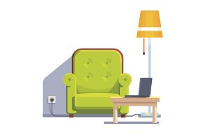 Comfortable home armchair and lamp
