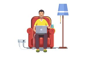 Man sitting home and browsing