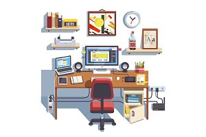 Professional designer working desk