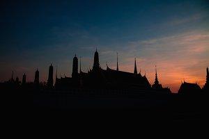 Silhouette Wat pra kaew,Grand palace