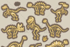Dinosaur Bones Clipart and Vectors