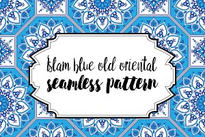 Seamless blue old oriental pattern