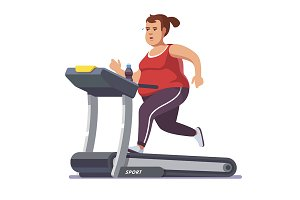 Obese young woman running
