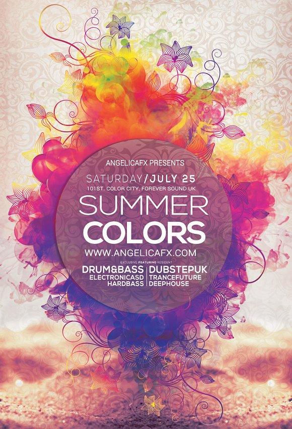 summer colors flyer template flyer templates creative market