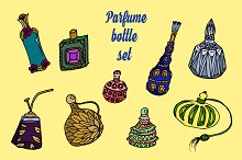 Perfume bottle set. Vector