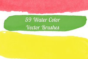 59 Water Color Brushes vector