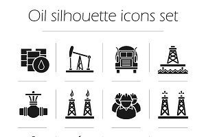 Oil production. 12 icons. Vector