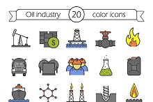 Oil industry. 20 color icons. Vector