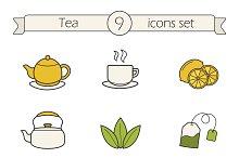 Tea. 9 color icons. Vector